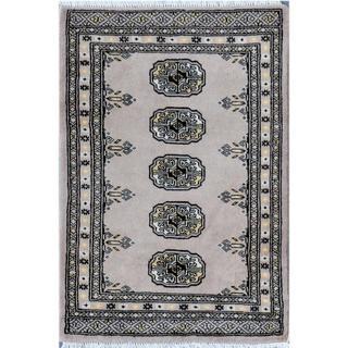 Pakistani Hand-knotted Bokhara Grey/ Ivory Wool Rug (2'6 x 2'11)