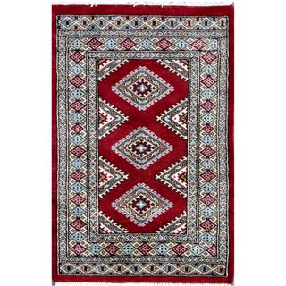 Pakistani Hand-knotted Bokhara Red/ Ivory Wool Rug (2' x 3')