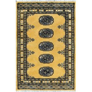 Pakistani Hand-knotted Bokhara Yellow/ Ivory Wool Rug (2' x 2'11)