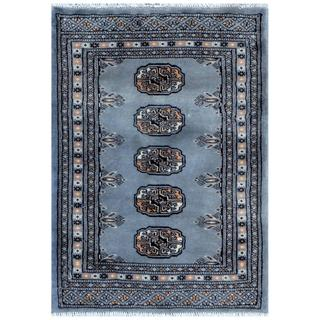 Pakistani Hand-knotted Bokhara Grey/ Ivory Wool Rug (2'1 x 3')