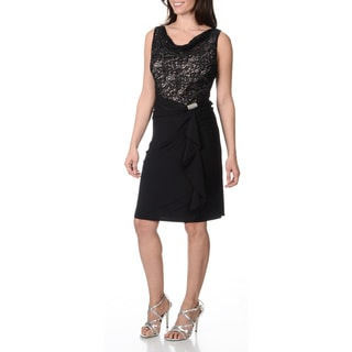 R & M Richards Women's Black Draped Neck Lace Bust Dress