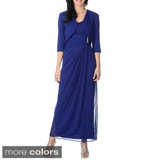 R & M Richards Women's Royal Blue 2-piece Gown and Jacket Set