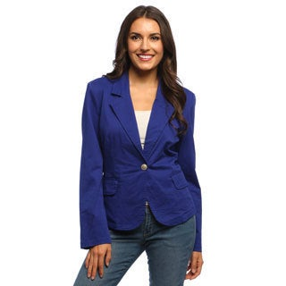 Live A Little Women's Blue Drop Lapel One-button Blazer