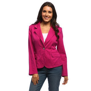 Live A Little Women's Rose Drop-lapel One-button Blazer