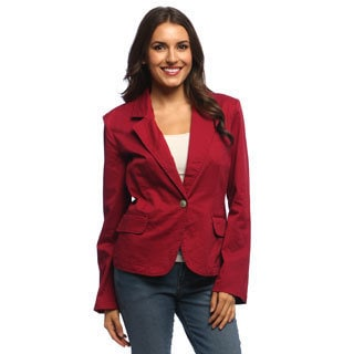 Live A Little Women's Pomegrante Drop-lapel One-button Blazer