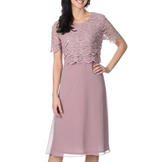 R & M & Richards Women's Mauve Lace Bodice 2fer Dress