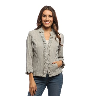 Women's Natural/ Black Railroad Striped Double Ruffle Jacket