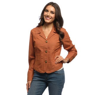 Live A Little Women's Macintosh Brown Pick-stitch Jean Jacket