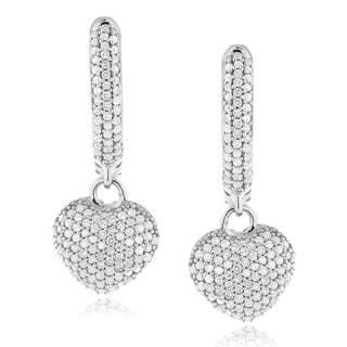 Luxurman 14k White Gold 3/4ct TDW Pave Diamond Heart Shaped Earrings (H-I, SI1-SI2)