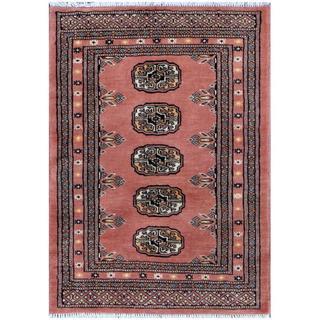 Pakistani Hand-knotted Bokhara Salmon/ Ivory Wool Rug (2' x 3')