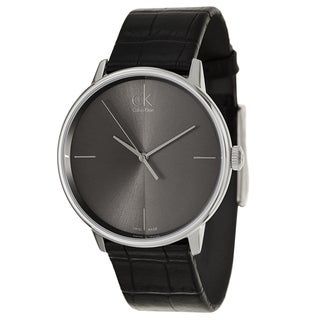 Calvin Klein Men's 'Accent' Black Leather Swiss Quartz Watch