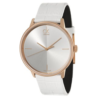 Calvin Klein Women's 'Accent' Rose Goldplated White Leather Watch