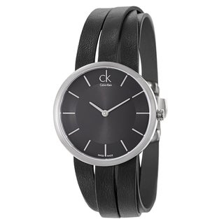Calvin Klein Women's 'Extent' Black Leather Quartz Watch