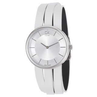 Calvin Klein Women's 'Extent' White Leather Swiss Quartz Watch