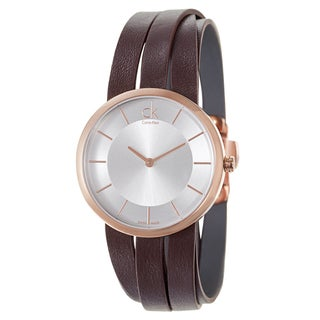 Calvin Klein Women's 'Extent' Brown Leather Swiss Quartz Watch