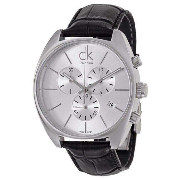 Calvin Klein Men's 'Exchange' Black Leather Chronograph Watch