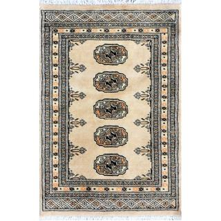Pakistani Hand-knotted Bokhara Beige/ Ivory Wool Rug (2'1 x 3'2)