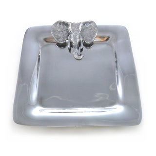 Handcrafted Aluminum Square Serving Tray with Elephant (India)