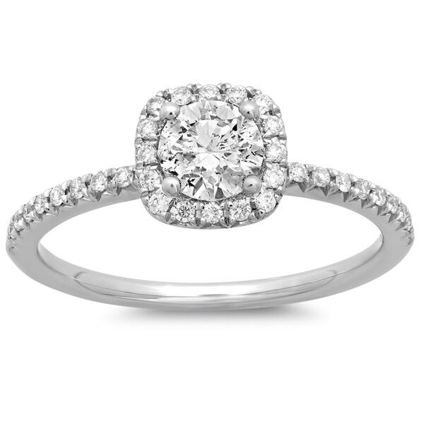 14k White Gold 3/4ct TDW Round Diamond Halo Engagement Ring (G-H, SI2-I1)