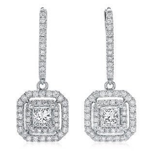 14k White Gold 1 1/10ct TDW Princess-cut Diamond Double Halo Leverback Earrings (G-H, SI2-I1)