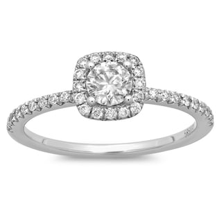 Azaro 14k White Gold 3/5ct TDW Round Diamond Halo Engagement Ring (G-H, SI2-I1)