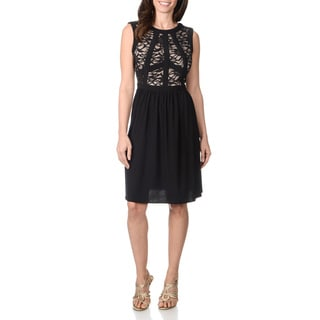 R & M Richards Women's Two-tone Lace Mapped Bust Dress