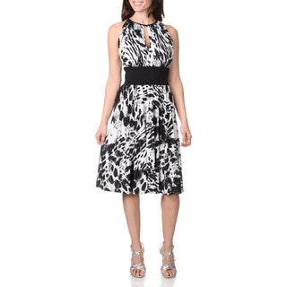 R & M Richards Women's Abstract Animal Print Halter Dress