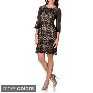 R & M Richards Women's Sequin-embellished Lace Dress