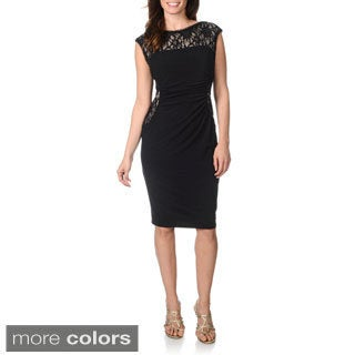 R & M Richards Women's Black/ Beige Sequin-embellished Placement Lace Dress
