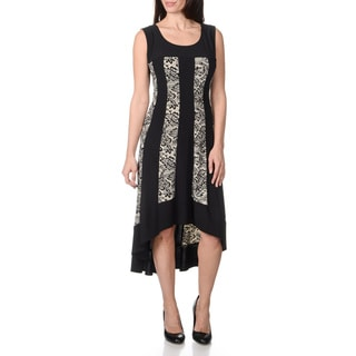 R & M Richards Women's Black/ Ivory Printed Lace Dress