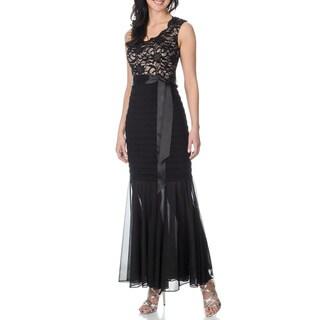 R & M Richards Women's Black/ Taupe Shutter Tuck Mermaid Gown