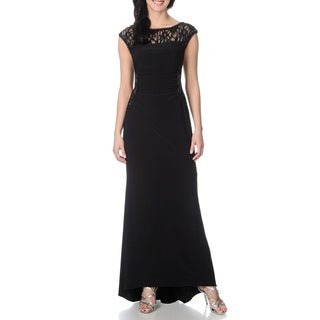 R & M Richards Women's Black/ Beige Inset Lace Draped Gown