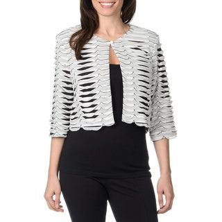 R & M Richards Women's White/ Black Striped Ruffle Jacket