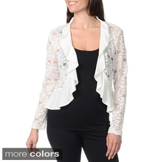 R & M Richards Women's Lace Fly-away Shrug