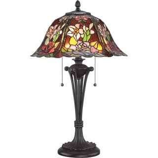 Tiffany Park Rose with Western Bronze Finish Table Lamp