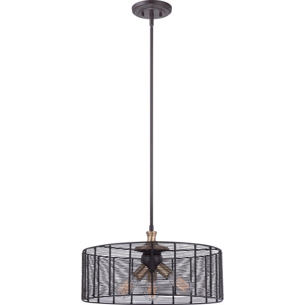 Long Beach with Western Bronze Finish 3-light Pendant