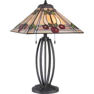 Tiffany Ruby with Vintage Black Finish Table Lamp