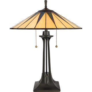 Tiffany-style Gotham 2-light Vintage Bronze Table Lamp