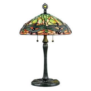 Green Dragonfly with Vintage Bronze Finish Tiffany-style Table Lamp