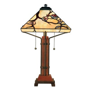 Tiffany Grove Park with Multi Finish Table Lamp