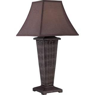 Weaver Dark Brown Woven Wicker Outdoor Table Lamp