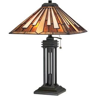 Tiffany-style Hathaway 2-light Vintage Bronze Table Lamp