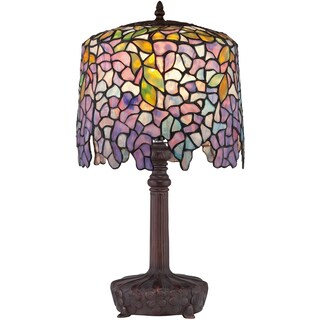Tiffany-style Purple Wisteria 1-light Authentic Bronze Patina Desk Lamp
