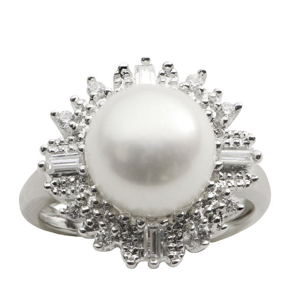 Pearls For You White Freshwater Pearl and Cubic Zirconia Halo Ring (10-10.5 mm)