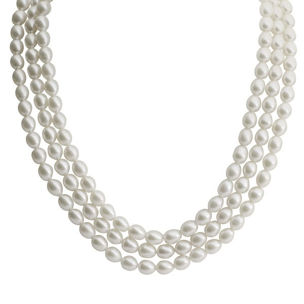 Pearls For You Sterling Silver White Freshwater Rice Pearl 3-Strand Necklace (6-7 mm)