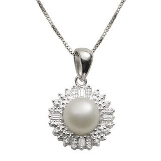Pearls For You Sterling Silver White Freshwater Pearl and Cubic Zirconia Halo Necklace (8-8.5 mm)