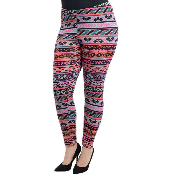Shop The Trends Women's Plus Splatter Abstract Leggings