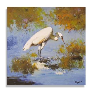 Kingston 'Beautiful Egret in Marsh-land' Gallery-wrapped Canvas Art