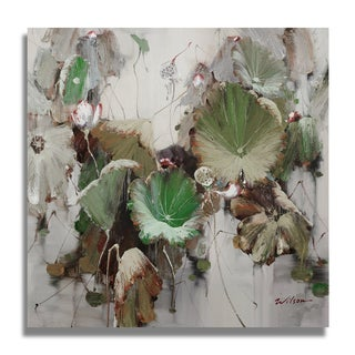 Wilson 'Lotus with White and Pink Flowers' Gallery-wrapped Canvas Art