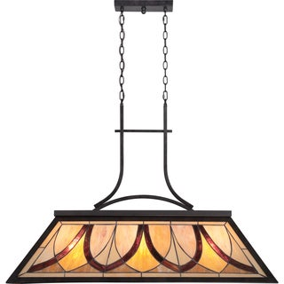 Tiffany-style Asheville 3-light Valiant Bronze Island Chandelier
